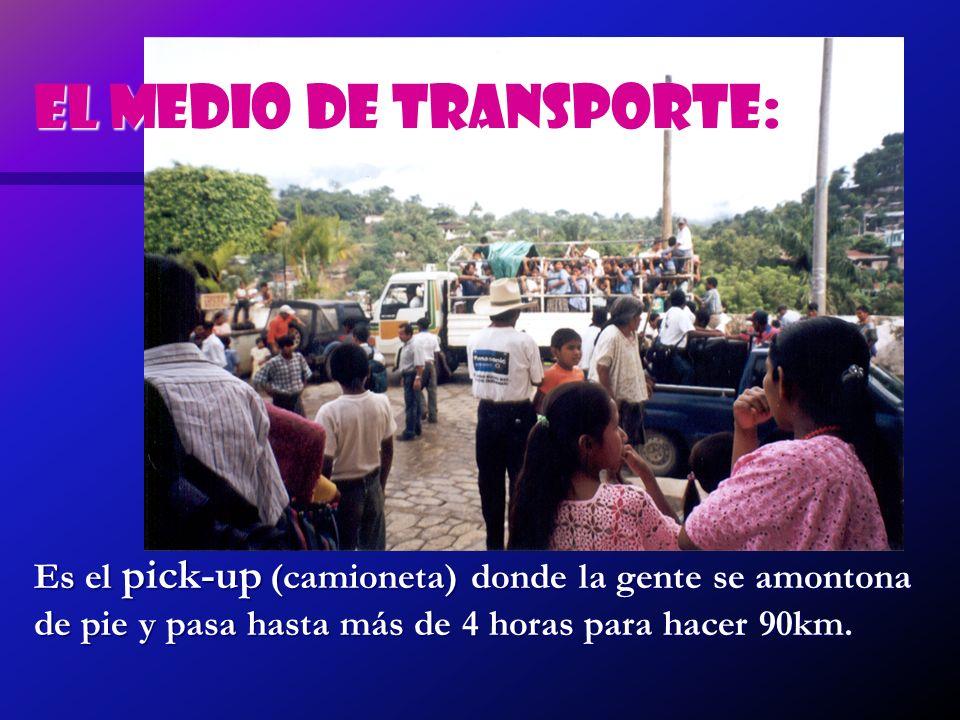 Es el pick-up (camioneta) donde la gente se amontona de pie y pasa hasta más de 4 horas para hacer 90km. El medio de transporte: