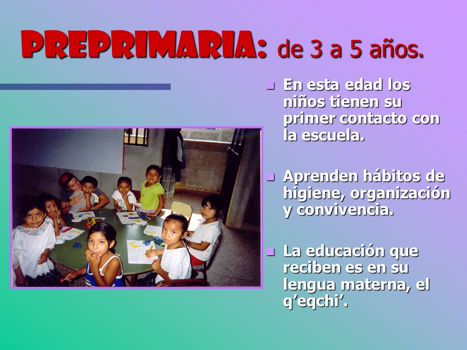 Preprimaria: de 3 a 5 años. En esta edad los niños tienen su primer contacto con la escuela. Aprenden hábitos de higiene, organización y convivencia.