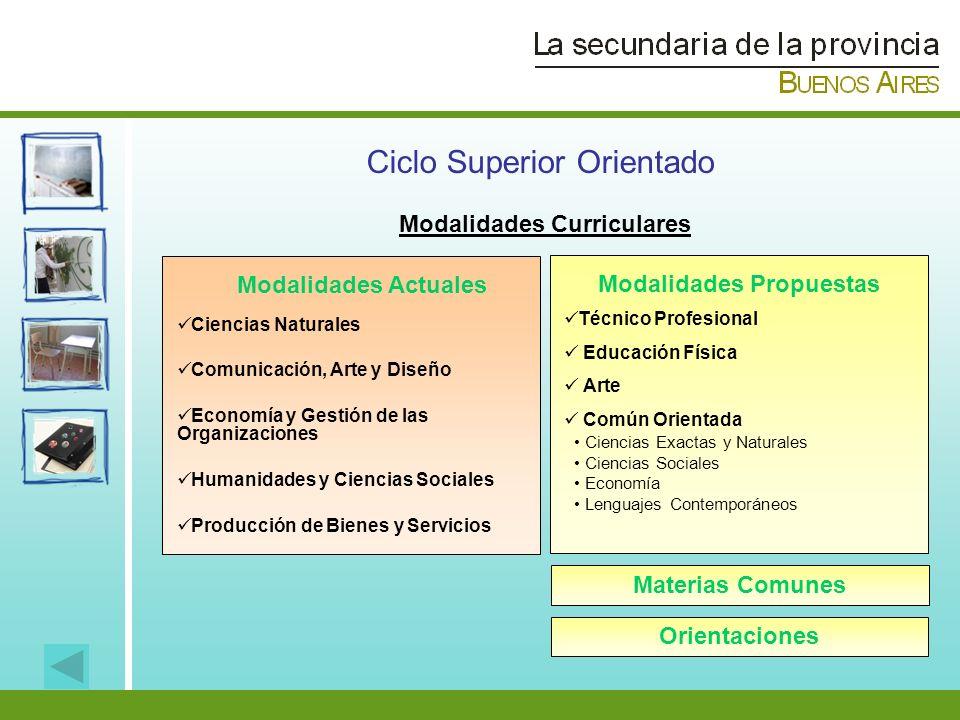 Modalidades Curriculares Modalidades Actuales Modalidades Propuestas Ciencias Naturales Comunicación, Arte y Diseño Economía y Gestión de las Organiza