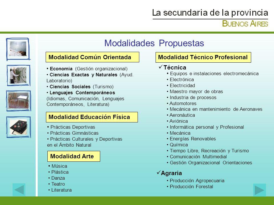 Modalidad Técnico Profesional Técnica Equipos e instalaciones electromecánica Electrónica Electricidad Maestro mayor de obras Industria de procesos Au