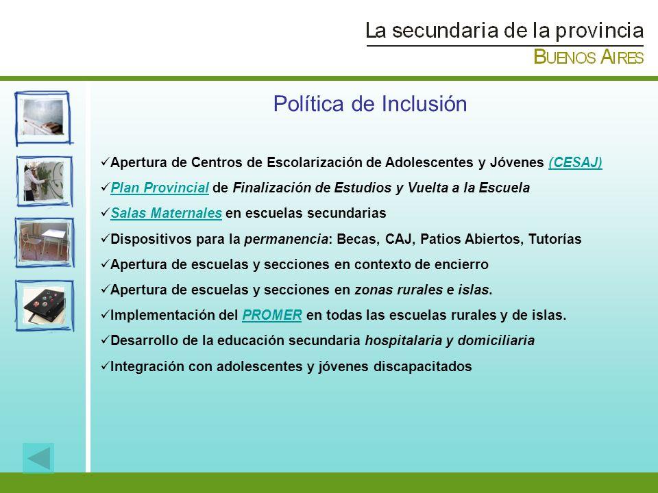 Apertura de Centros de Escolarización de Adolescentes y Jóvenes (CESAJ)(CESAJ) Plan Provincial de Finalización de Estudios y Vuelta a la EscuelaPlan P