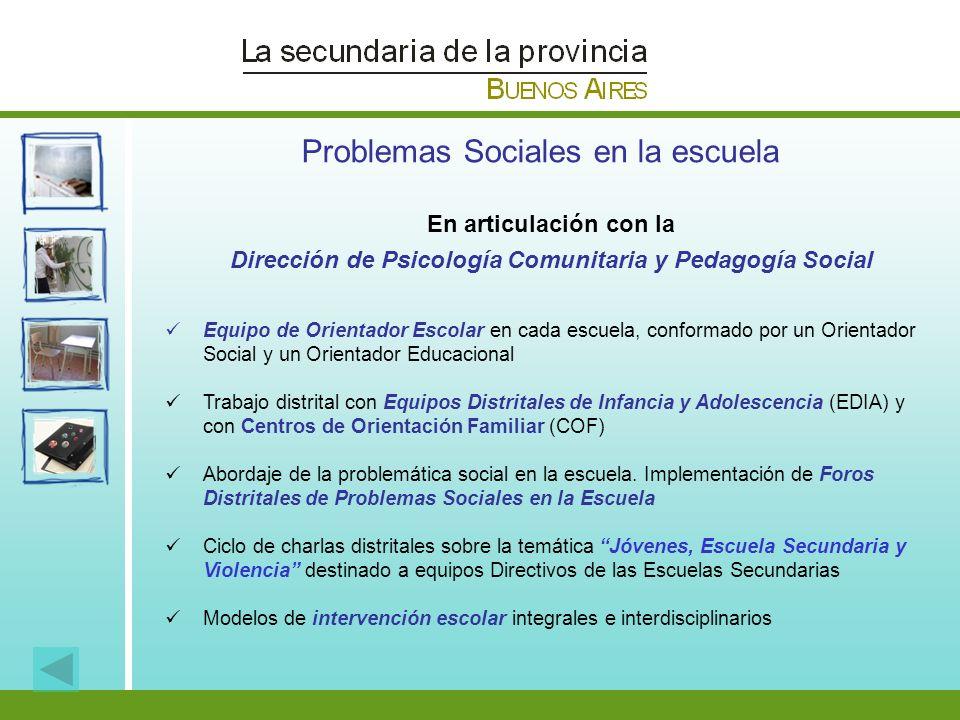 Problemas Sociales en la escuela En articulación con la Dirección de Psicología Comunitaria y Pedagogía Social Equipo de Orientador Escolar en cada es