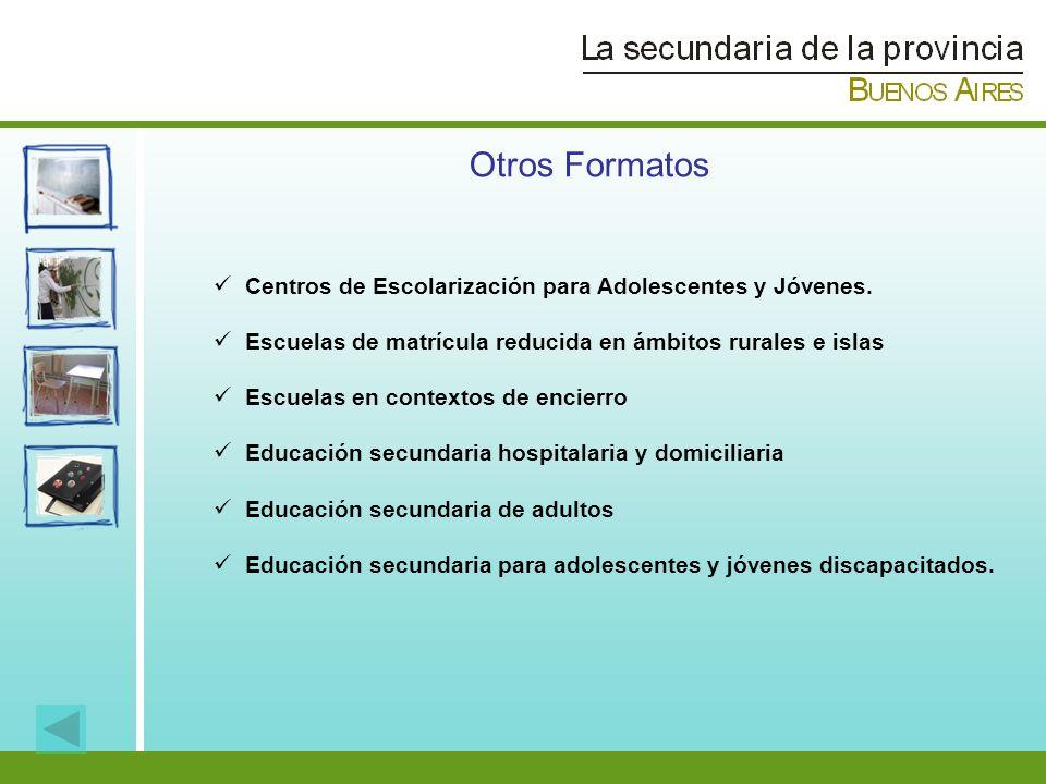 Otros Formatos Centros de Escolarización para Adolescentes y Jóvenes. Escuelas de matrícula reducida en ámbitos rurales e islas Escuelas en contextos