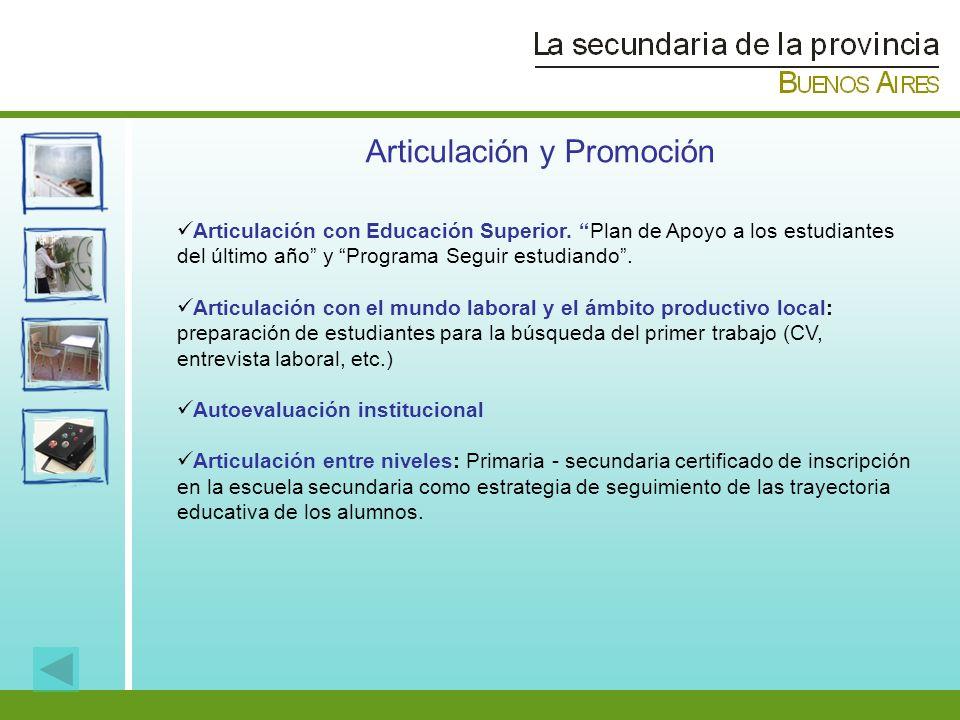Articulación y Promoción Articulación con Educación Superior. Plan de Apoyo a los estudiantes del último año y Programa Seguir estudiando. Articulació
