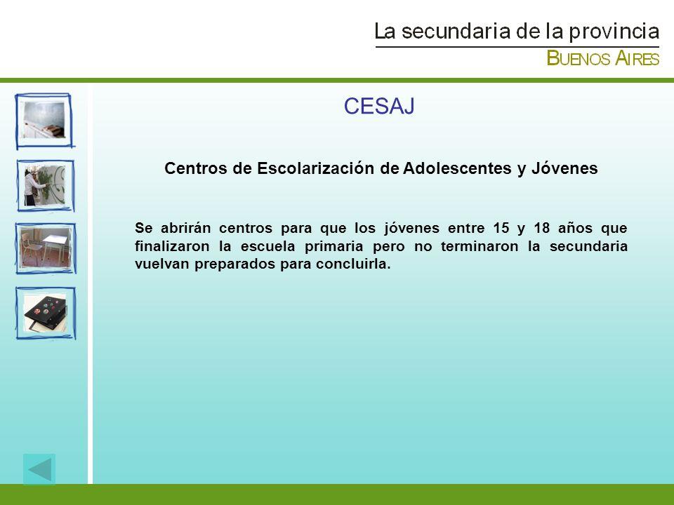 CESAJ Centros de Escolarización de Adolescentes y Jóvenes Se abrirán centros para que los jóvenes entre 15 y 18 años que finalizaron la escuela primar