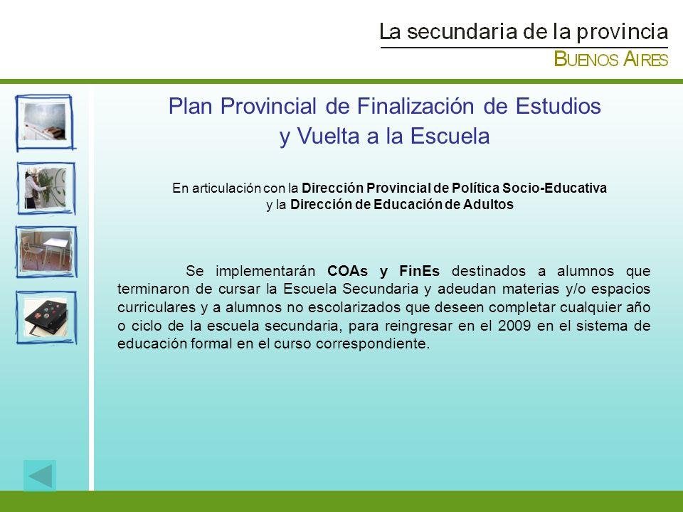 Plan Provincial de Finalización de Estudios y Vuelta a la Escuela Se implementarán COAs y FinEs destinados a alumnos que terminaron de cursar la Escue