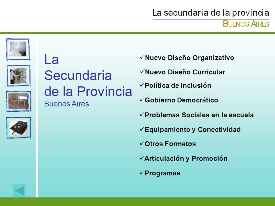La Secundaria de la Provincia Buenos Aires Política de Inclusión Gobierno Democrático Problemas Sociales en la escuela Equipamiento y Conectividad Nue
