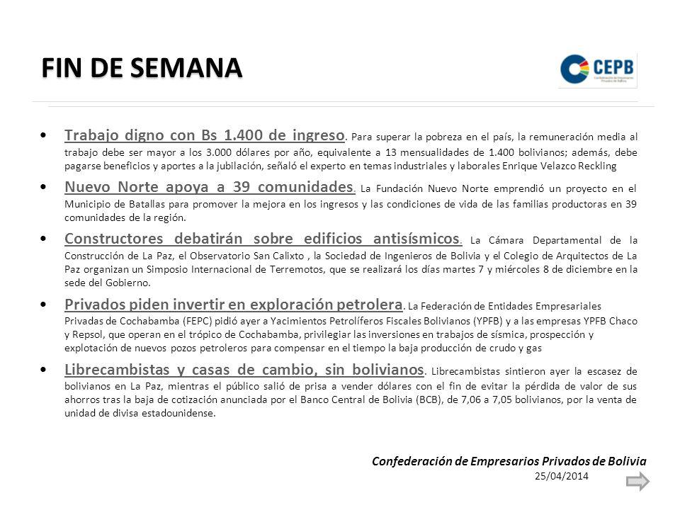 FIN DE SEMANA Trabajo digno con Bs 1.400 de ingreso.