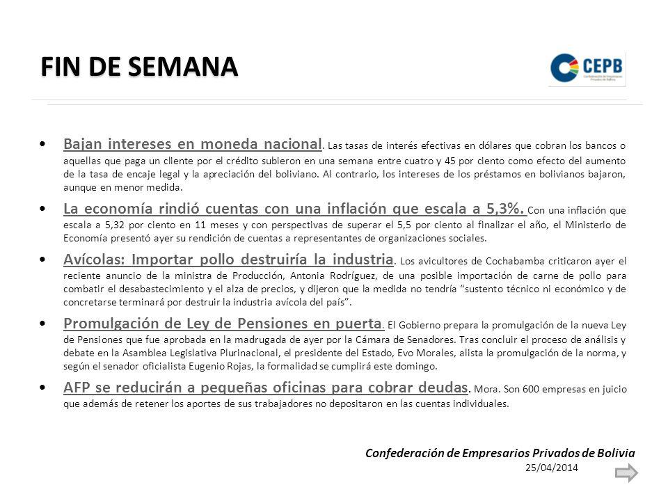 FIN DE SEMANA Bajan intereses en moneda nacional.