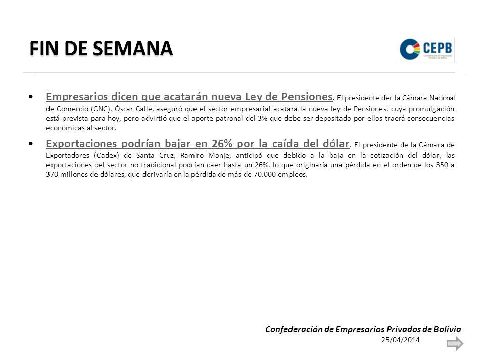 FIN DE SEMANA Empresarios dicen que acatarán nueva Ley de Pensiones.