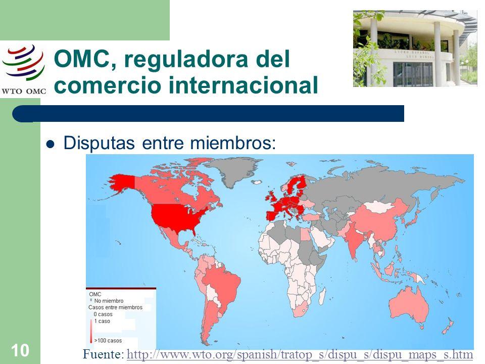 10 OMC, reguladora del comercio internacional Disputas entre miembros: Fuente: http://www.wto.org/spanish/tratop_s/dispu_s/dispu_maps_s.htmhttp://www.
