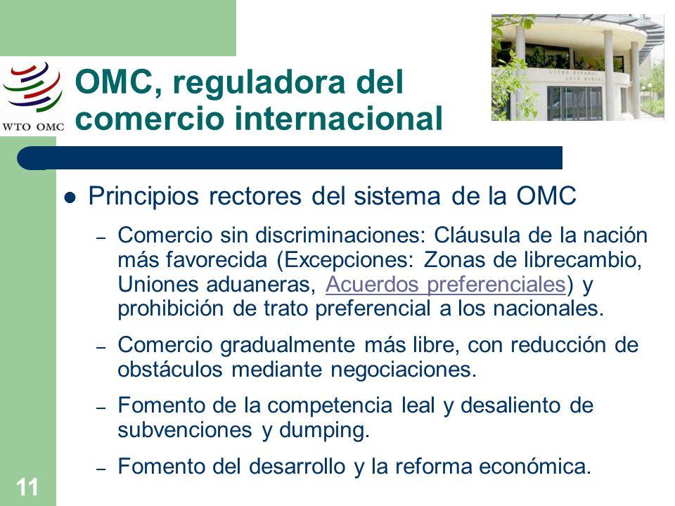 11 OMC, reguladora del comercio internacional Principios rectores del sistema de la OMC – Comercio sin discriminaciones: Cláusula de la nación más fav