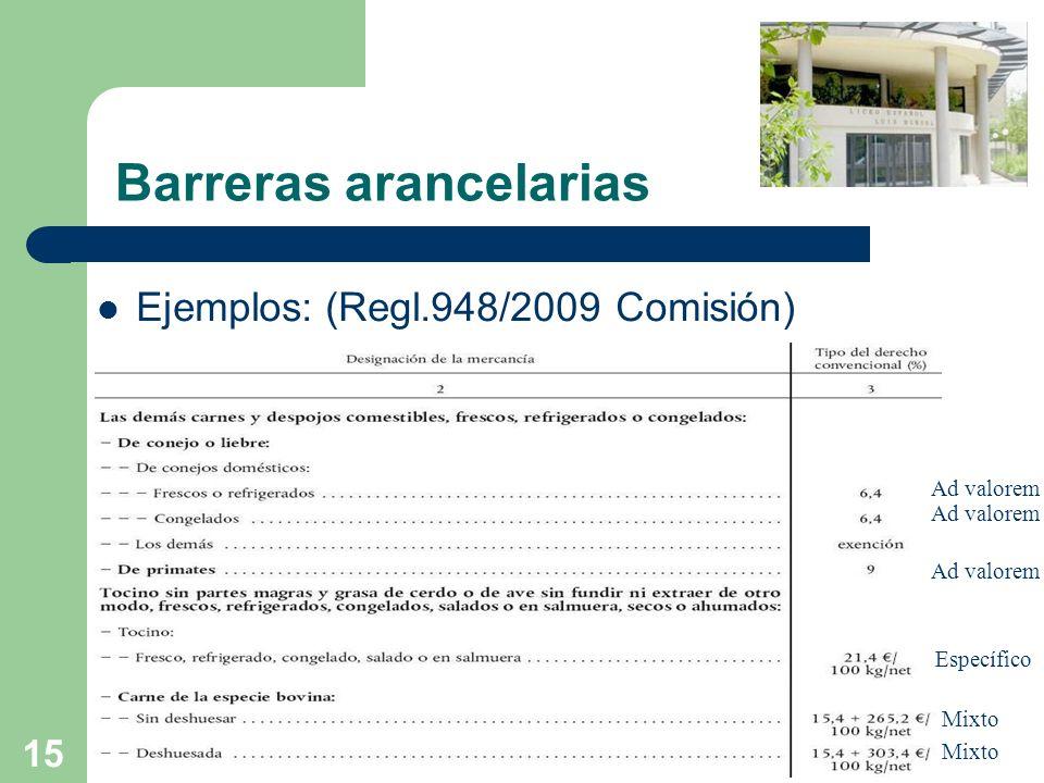 15 Barreras arancelarias Ejemplos: (Regl.948/2009 Comisión) Mixto Ad valorem Específico Mixto Ad valorem