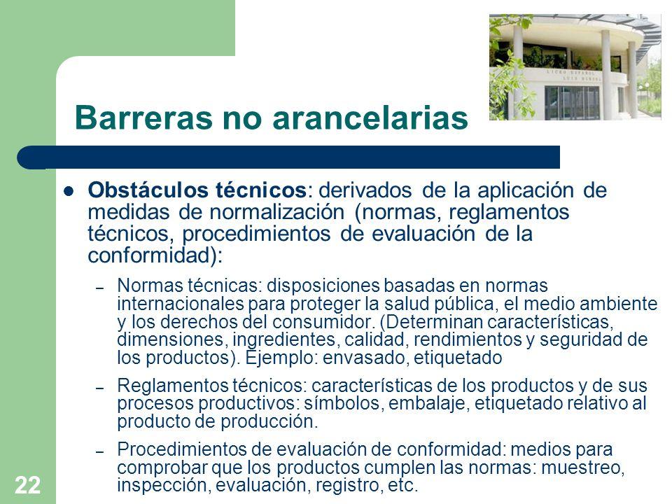 22 Barreras no arancelarias Obstáculos técnicos: derivados de la aplicación de medidas de normalización (normas, reglamentos técnicos, procedimientos