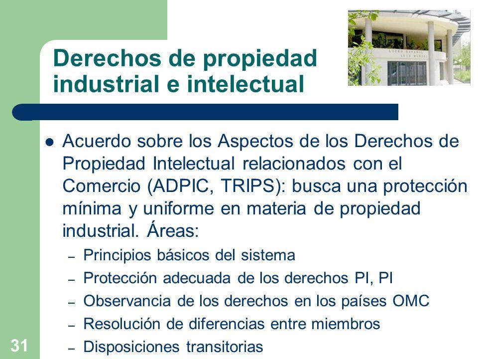 31 Derechos de propiedad industrial e intelectual Acuerdo sobre los Aspectos de los Derechos de Propiedad Intelectual relacionados con el Comercio (AD