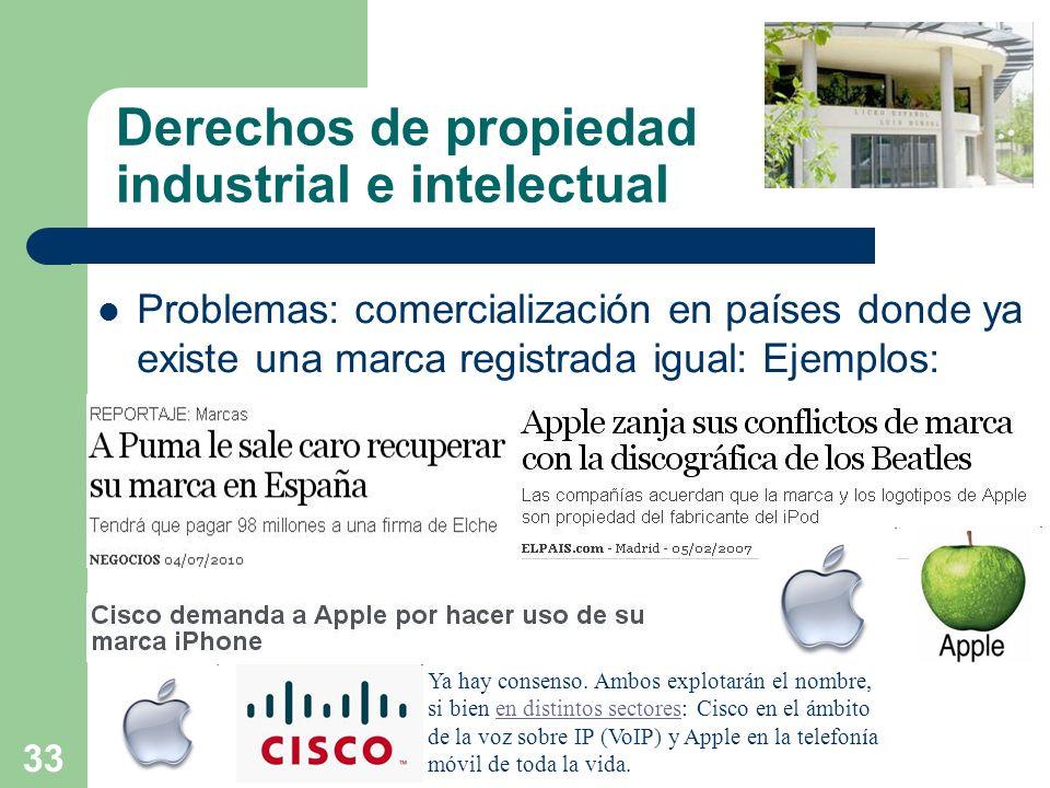 33 Derechos de propiedad industrial e intelectual Problemas: comercialización en países donde ya existe una marca registrada igual: Ejemplos: Ya hay c