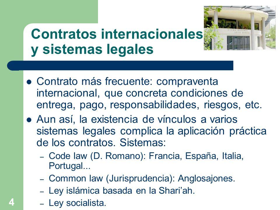 4 Contratos internacionales y sistemas legales Contrato más frecuente: compraventa internacional, que concreta condiciones de entrega, pago, responsab