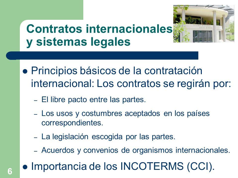 6 Contratos internacionales y sistemas legales Principios básicos de la contratación internacional: Los contratos se regirán por: – El libre pacto ent