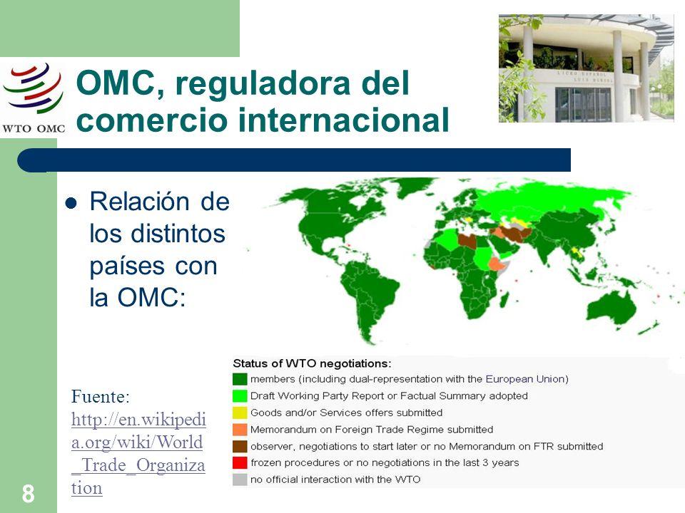 8 OMC, reguladora del comercio internacional Relación de los distintos países con la OMC: Fuente: http://en.wikipedi a.org/wiki/World _Trade_Organiza