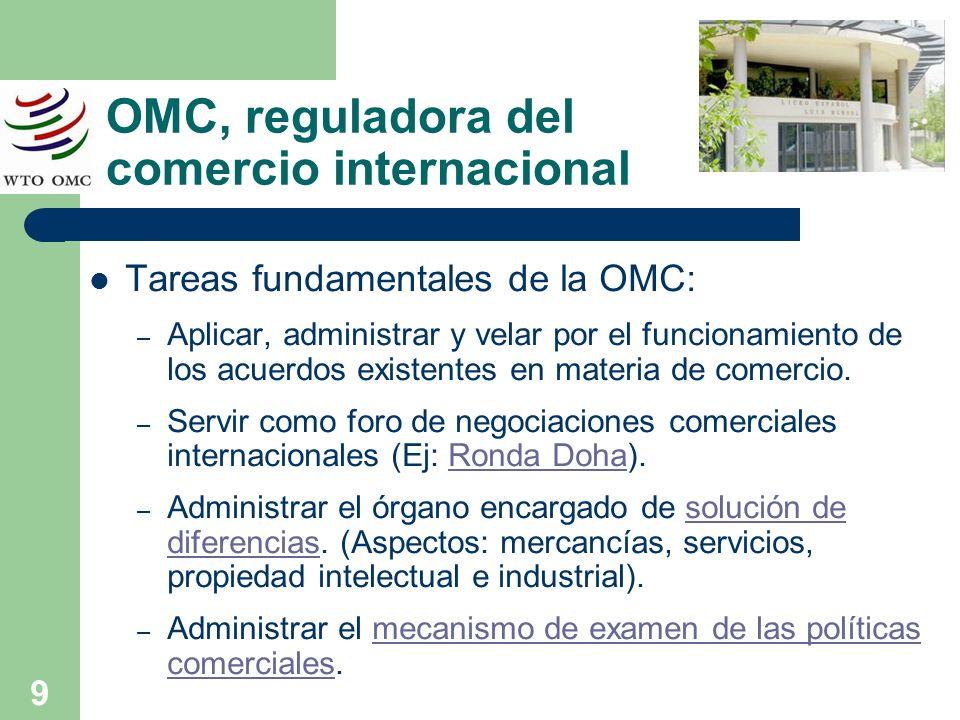 9 OMC, reguladora del comercio internacional Tareas fundamentales de la OMC: – Aplicar, administrar y velar por el funcionamiento de los acuerdos exis