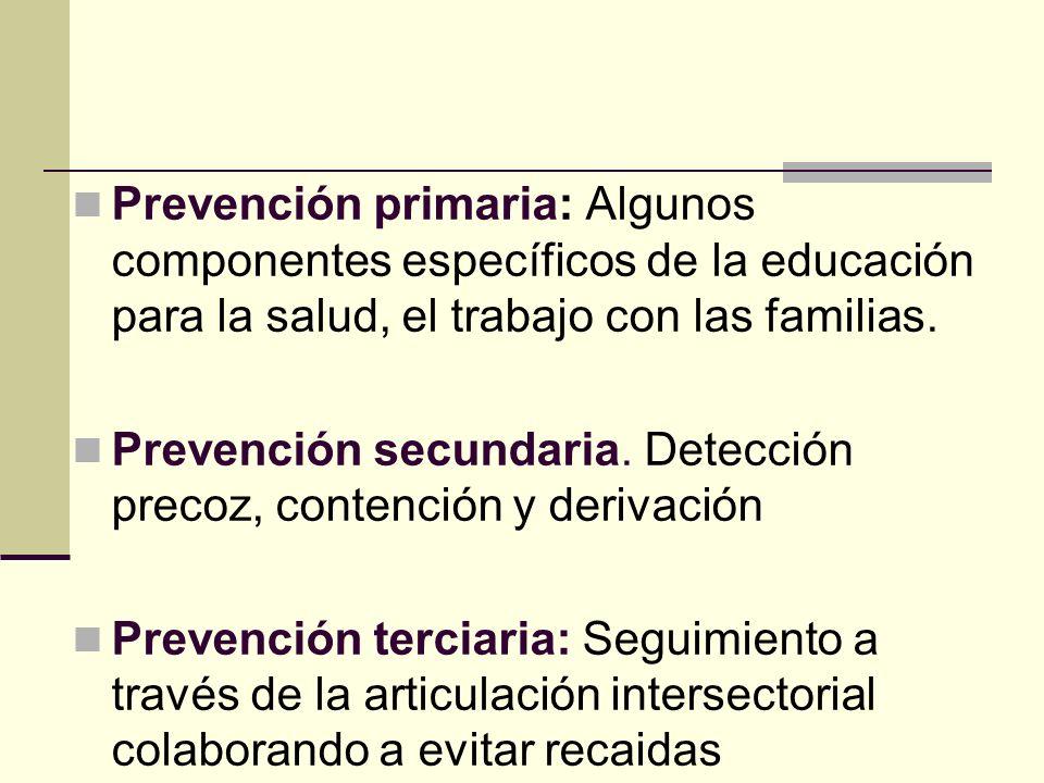 Prevención primaria: Algunos componentes específicos de la educación para la salud, el trabajo con las familias. Prevención secundaria. Detección prec
