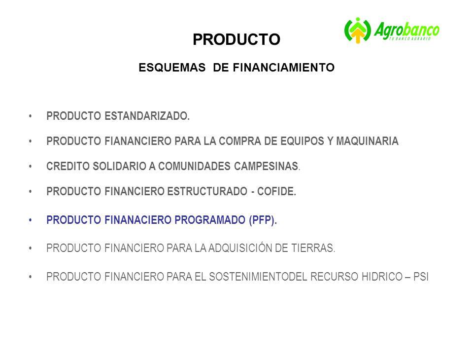 PRODUCTO ESQUEMAS DE FINANCIAMIENTO PRODUCTO ESTANDARIZADO.