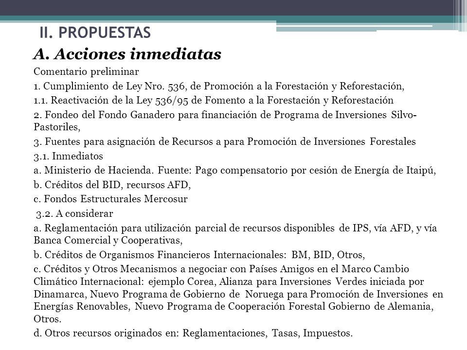 II. PROPUESTAS A. Acciones inmediatas Comentario preliminar 1. Cumplimiento de Ley Nro. 536, de Promoción a la Forestación y Reforestación, 1.1. React
