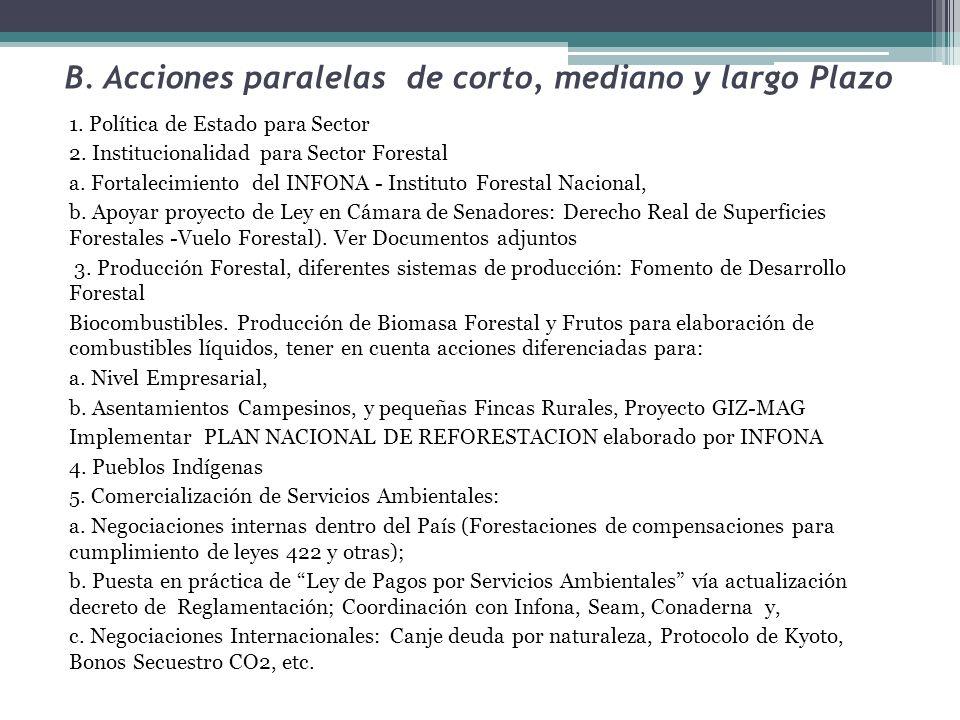 B. Acciones paralelas de corto, mediano y largo Plazo 1. Política de Estado para Sector 2. Institucionalidad para Sector Forestal a. Fortalecimiento d