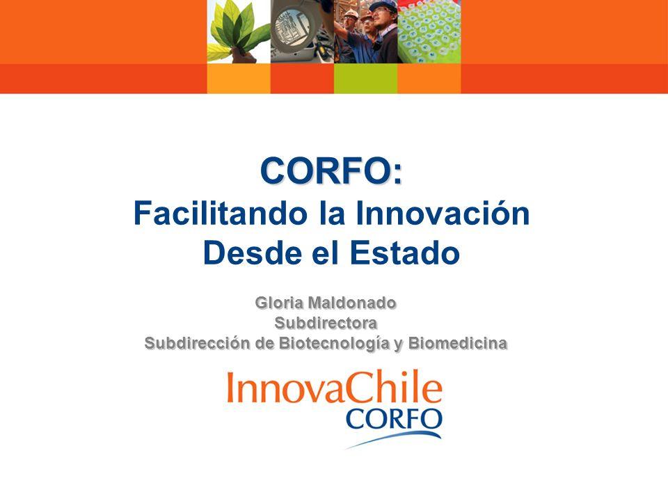 CORFO: CORFO: Facilitando la Innovación Desde el Estado Gloria Maldonado Subdirectora Subdirección de Biotecnología y Biomedicina