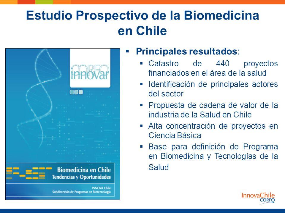 Estudio Prospectivo de la Biomedicina en Chile Principales resultados: Catastro de 440 proyectos financiados en el área de la salud Identificación de