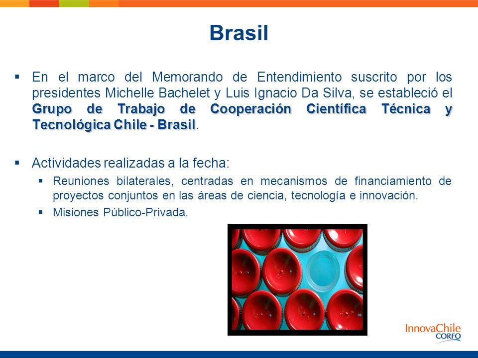Brasil Grupo de Trabajo de Cooperación Científica Técnica y Tecnológica Chile - Brasil En el marco del Memorando de Entendimiento suscrito por los pre