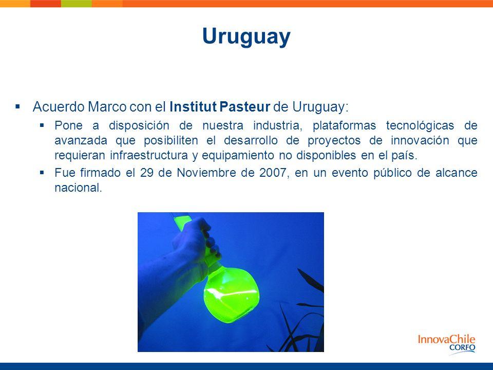 Uruguay Acuerdo Marco con el Institut Pasteur de Uruguay: Pone a disposición de nuestra industria, plataformas tecnológicas de avanzada que posibilite
