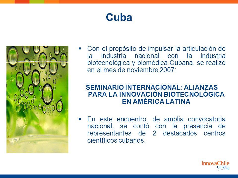 Cuba Con el propósito de impulsar la articulación de la industria nacional con la industria biotecnológica y biomédica Cubana, se realizó en el mes de