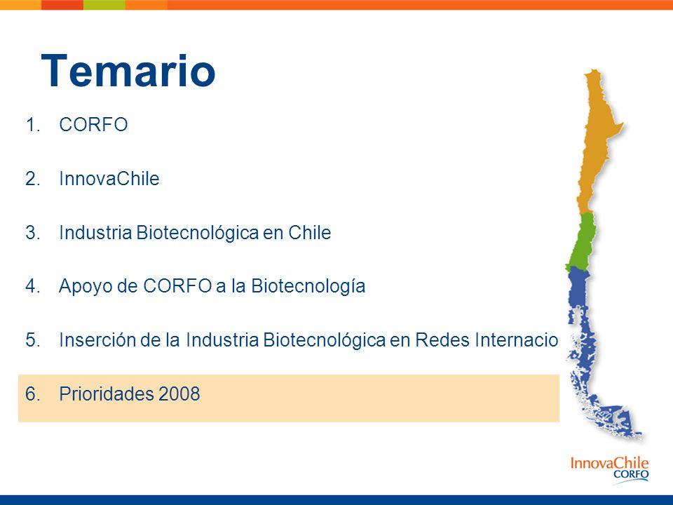 Temario 1.CORFO 2.InnovaChile 3.Industria Biotecnológica en Chile 4.Apoyo de CORFO a la Biotecnología 5.Inserción de la Industria Biotecnológica en Re