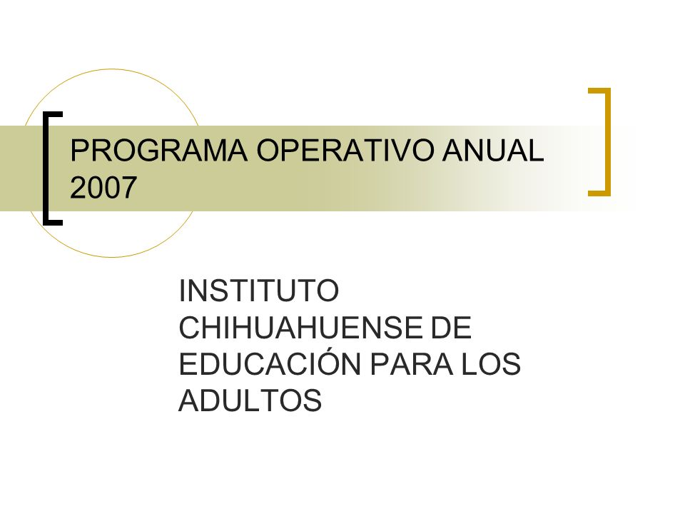 PROGRAMA OPERATIVO ANUAL 2007 INSTITUTO CHIHUAHUENSE DE EDUCACIÓN PARA LOS ADULTOS