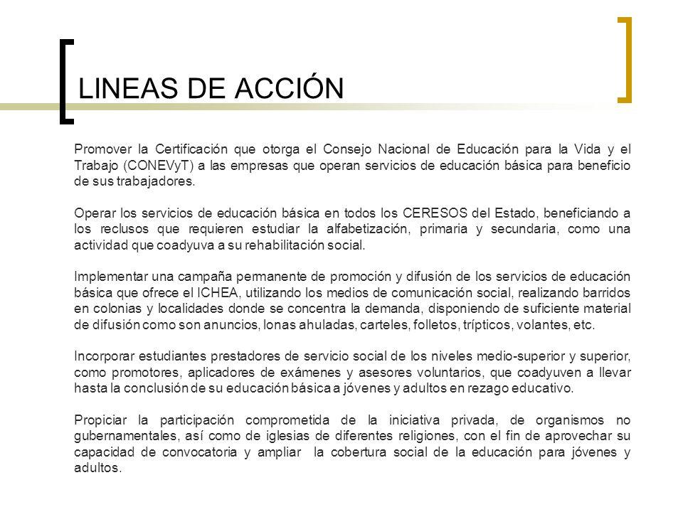 LINEAS DE ACCIÓN Promover la Certificación que otorga el Consejo Nacional de Educación para la Vida y el Trabajo (CONEVyT) a las empresas que operan s