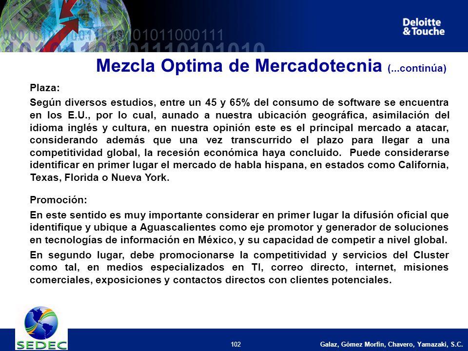 Galaz, Gómez Morfín, Chavero, Yamazaki, S.C. 102 Plaza: Según diversos estudios, entre un 45 y 65% del consumo de software se encuentra en los E.U., p