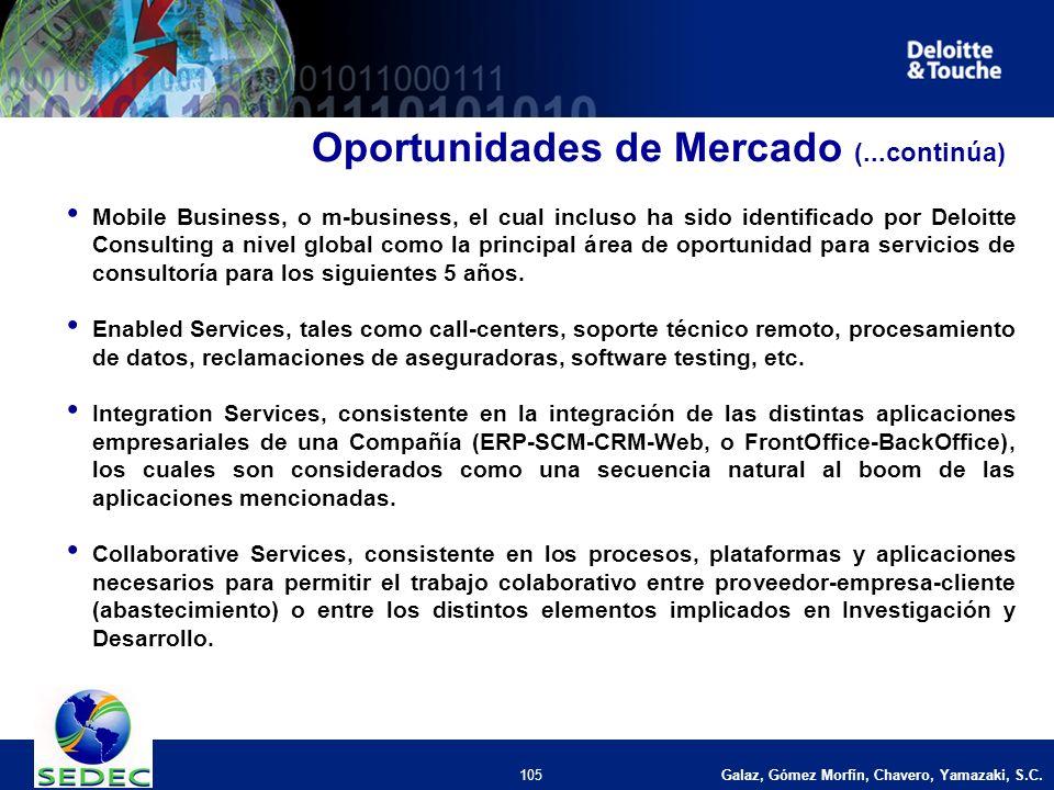 Galaz, Gómez Morfín, Chavero, Yamazaki, S.C. 105 Oportunidades de Mercado (...continúa) Mobile Business, o m-business, el cual incluso ha sido identif