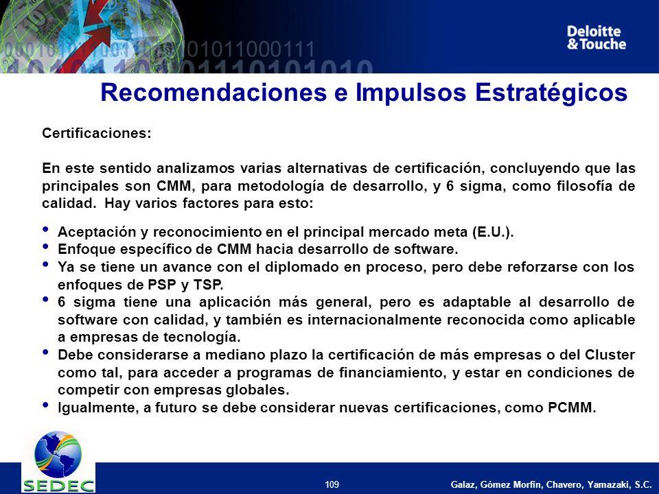 109 Recomendaciones e Impulsos Estratégicos Certificaciones: En este sentido analizamos varias alternativas de certificación, concluyendo que las principales son CMM, para metodología de desarrollo, y 6 sigma, como filosofía de calidad.