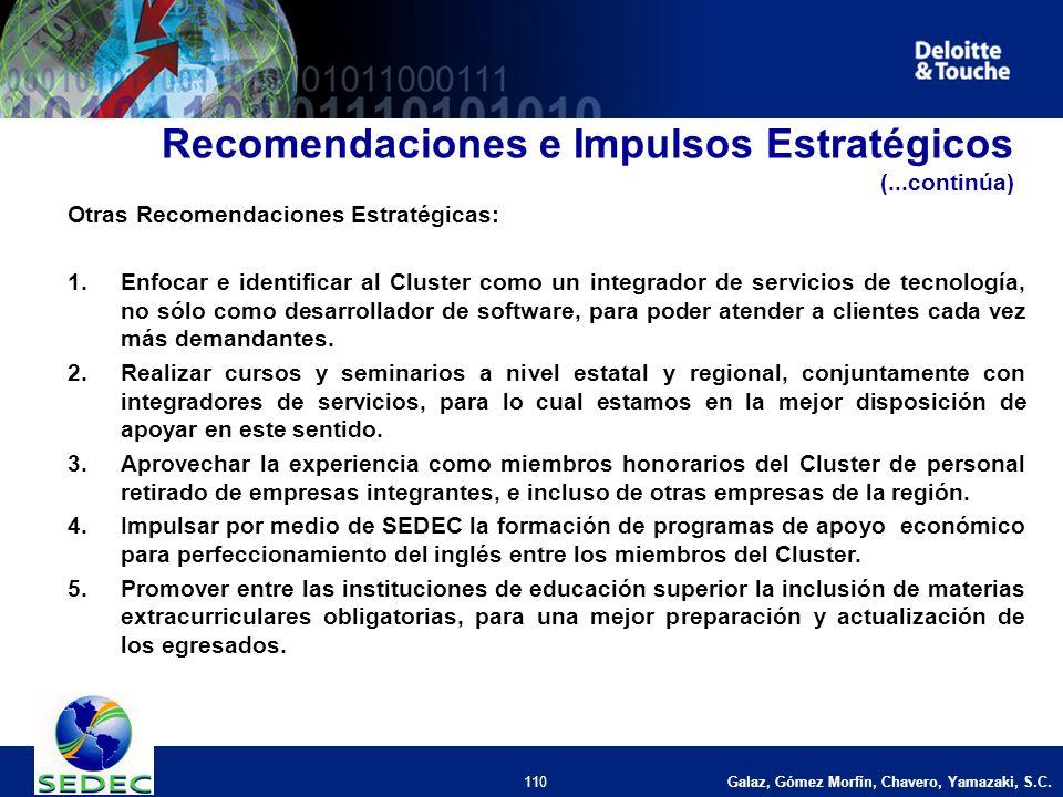Galaz, Gómez Morfín, Chavero, Yamazaki, S.C. 110 Recomendaciones e Impulsos Estratégicos (...continúa) Otras Recomendaciones Estratégicas: 1.Enfocar e