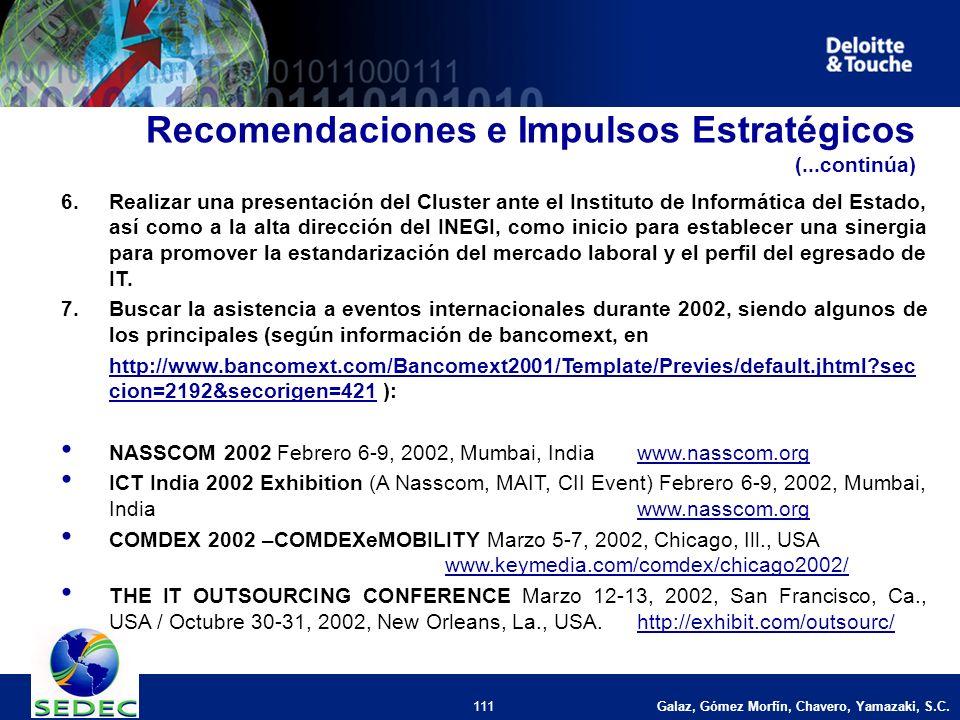 Galaz, Gómez Morfín, Chavero, Yamazaki, S.C. 111 6.Realizar una presentación del Cluster ante el Instituto de Informática del Estado, así como a la al