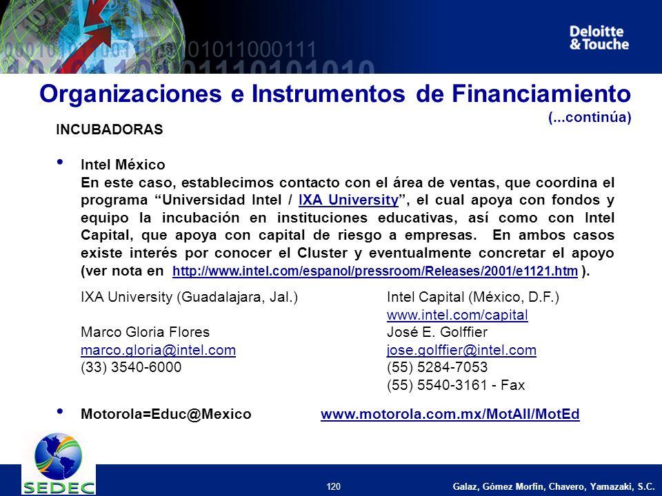 Galaz, Gómez Morfín, Chavero, Yamazaki, S.C. 120 INCUBADORAS Intel México En este caso, establecimos contacto con el área de ventas, que coordina el p