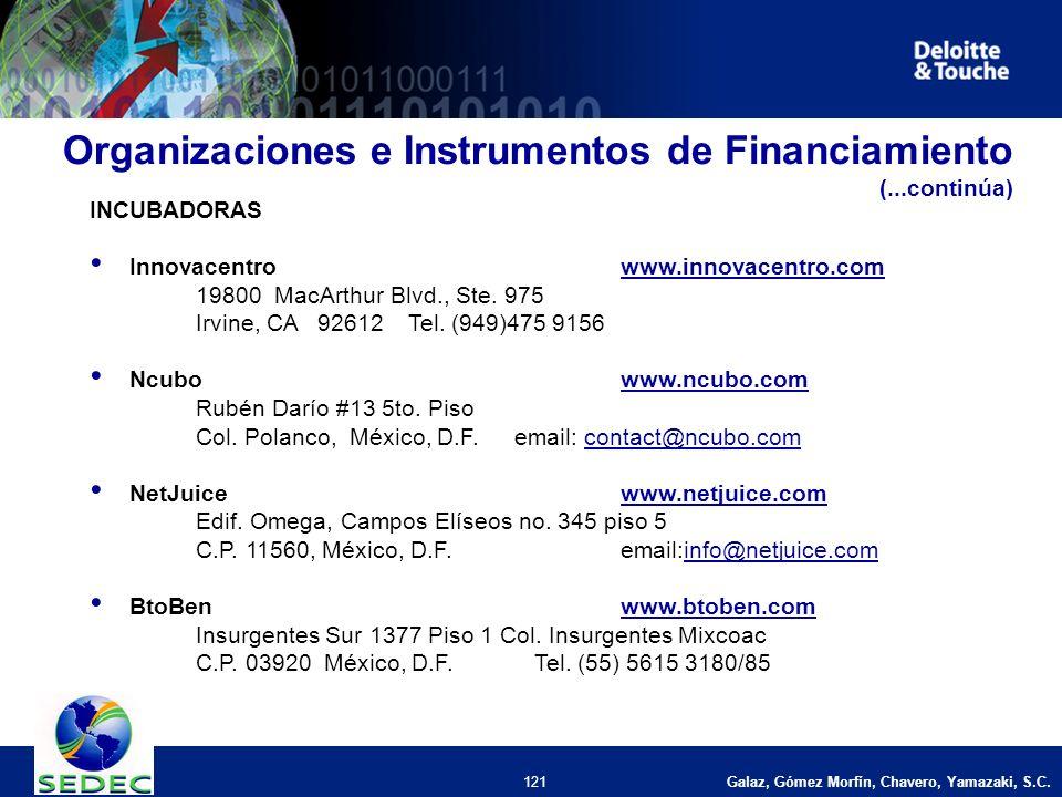 Galaz, Gómez Morfín, Chavero, Yamazaki, S.C. 121 INCUBADORAS Innovacentrowww.innovacentro.comwww.innovacentro.com 19800 MacArthur Blvd., Ste. 975 Irvi