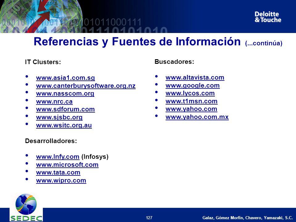 Galaz, Gómez Morfín, Chavero, Yamazaki, S.C. 127 IT Clusters: www.asia1.com.sg www.canterburysoftware.org.nz www.nasscom.org www.nrc.ca www.sdforum.co