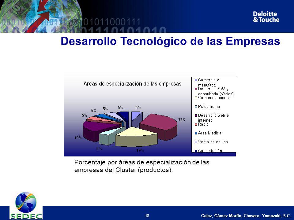 Galaz, Gómez Morfín, Chavero, Yamazaki, S.C. 18 Desarrollo Tecnológico de las Empresas Porcentaje por áreas de especialización de las empresas del Clu