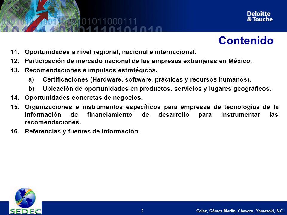 Galaz, Gómez Morfín, Chavero, Yamazaki, S.C. 2 Contenido 11.Oportunidades a nivel regional, nacional e internacional. 12.Participación de mercado naci