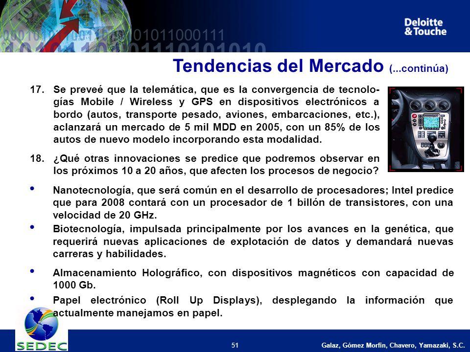 Galaz, Gómez Morfín, Chavero, Yamazaki, S.C. 51 17.Se preveé que la telemática, que es la convergencia de tecnolo- gías Mobile / Wireless y GPS en dis