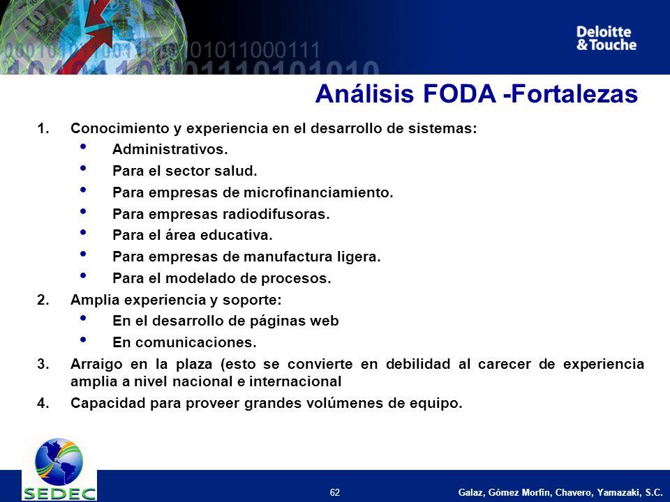 62 Análisis FODA -Fortalezas 1.Conocimiento y experiencia en el desarrollo de sistemas: Administrativos.