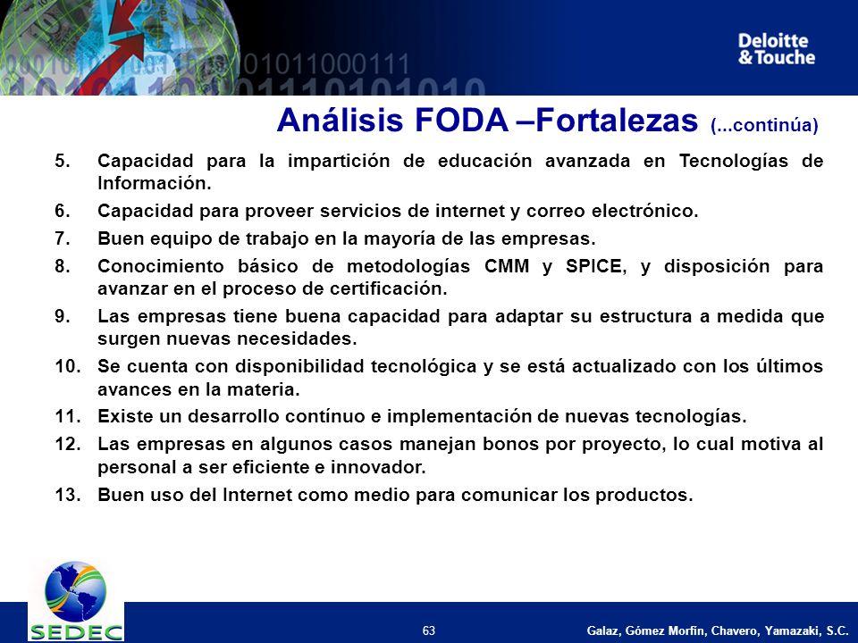 Galaz, Gómez Morfín, Chavero, Yamazaki, S.C. 63 5.Capacidad para la impartición de educación avanzada en Tecnologías de Información. 6.Capacidad para