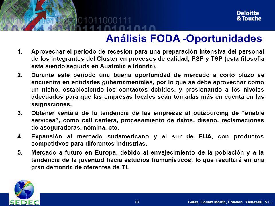 Galaz, Gómez Morfín, Chavero, Yamazaki, S.C. 67 Análisis FODA -Oportunidades 1.Aprovechar el periodo de recesión para una preparación intensiva del pe
